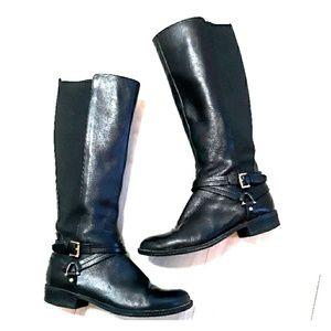 Tommy Hilfiger tall black leather boots sz 6.5